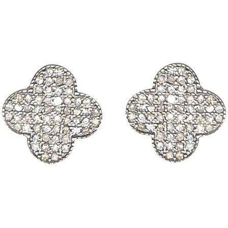 Clover Stud Earrings | Quatrefoil Design | Pave Diamonds | Sterling - Lexie Jordan Jewelry