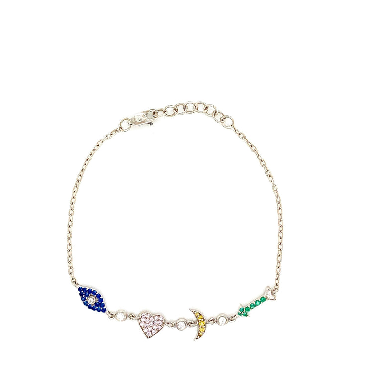 Colored CZ I Love You To The Moon and Back Silver Bracelet - Lexie Jordan Jewelry