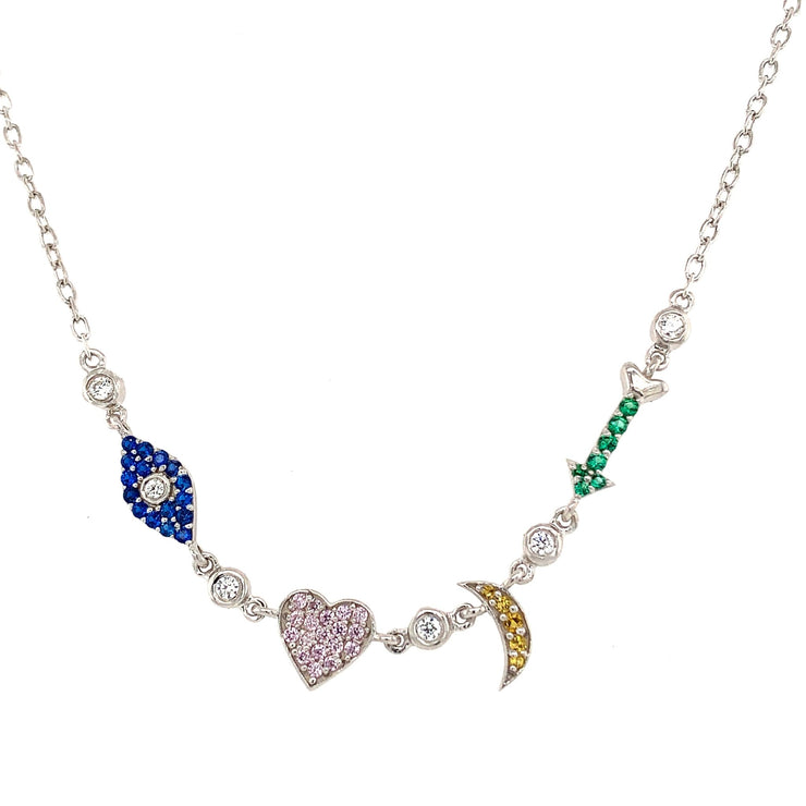 Colored CZ I love You To The Moon and Back Sterling Silver Necklace - Lexie Jordan Jewelry
