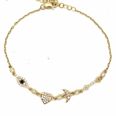 Diamond I Love You to the Moon and Back Bracelet| 14 kt gold | natural diamonds - Lexie Jordan Jewelry
