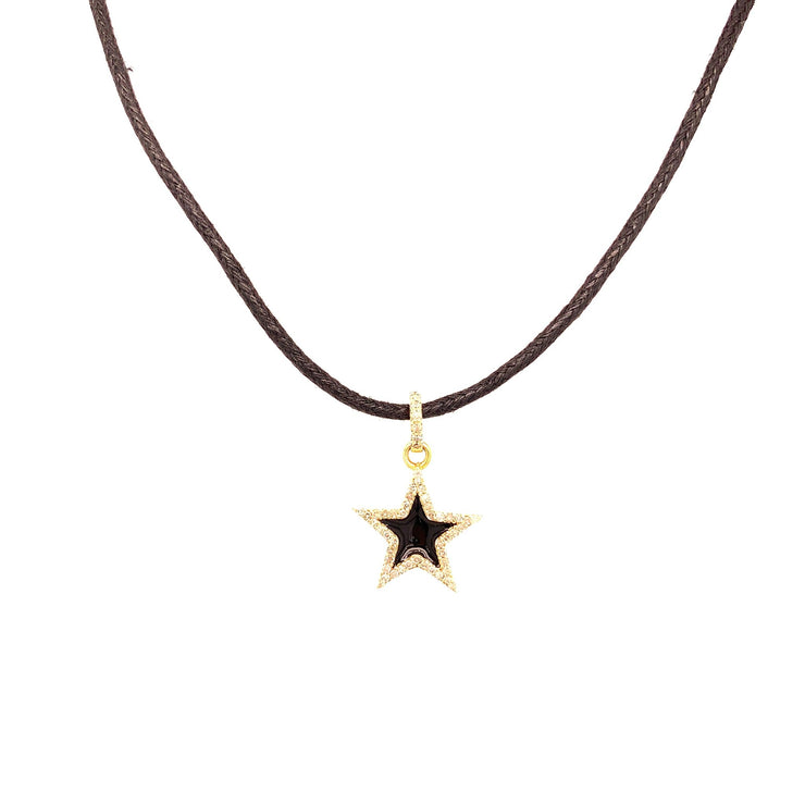 Diamond Star Charm Necklace | Gold | Pave Diamonds | Enamel - Lexie Jordan Jewelry