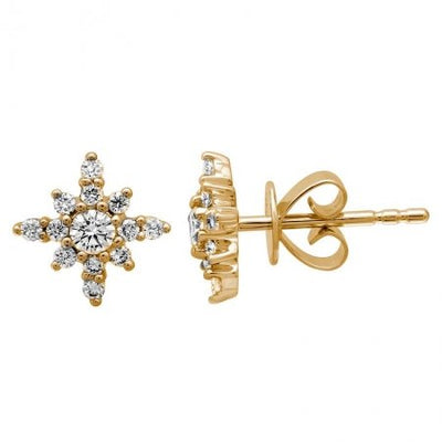 Diamond Starburst Studs| 14K Gold | Natural Diamonds - Lexie Jordan Jewelry