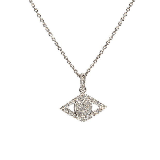 Elegant Evil Eye Charm Necklace | 14K Gold | Micro-Pave Diamonds - Lexie Jordan Jewelry