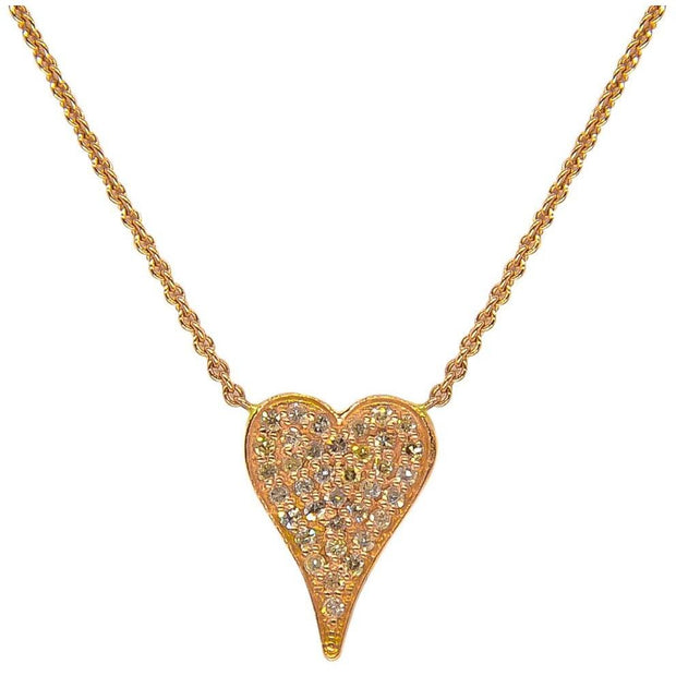 Elongated Heart Necklace | Pave Diamonds | 14K Gold - Lexie Jordan Jewelry
