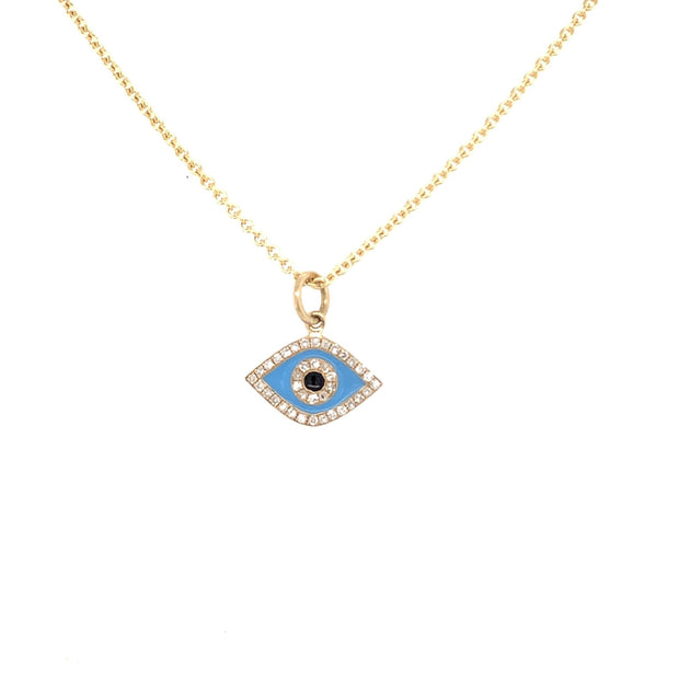 Evil Eye Charm Necklace | 14K Gold | Pave Diamonds | Enamel - Lexie Jordan Jewelry