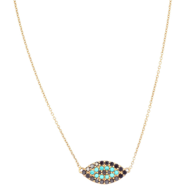 Evil Eye Necklace | 14K Gold with Black Diamonds and Turquoise - Lexie Jordan Jewelry
