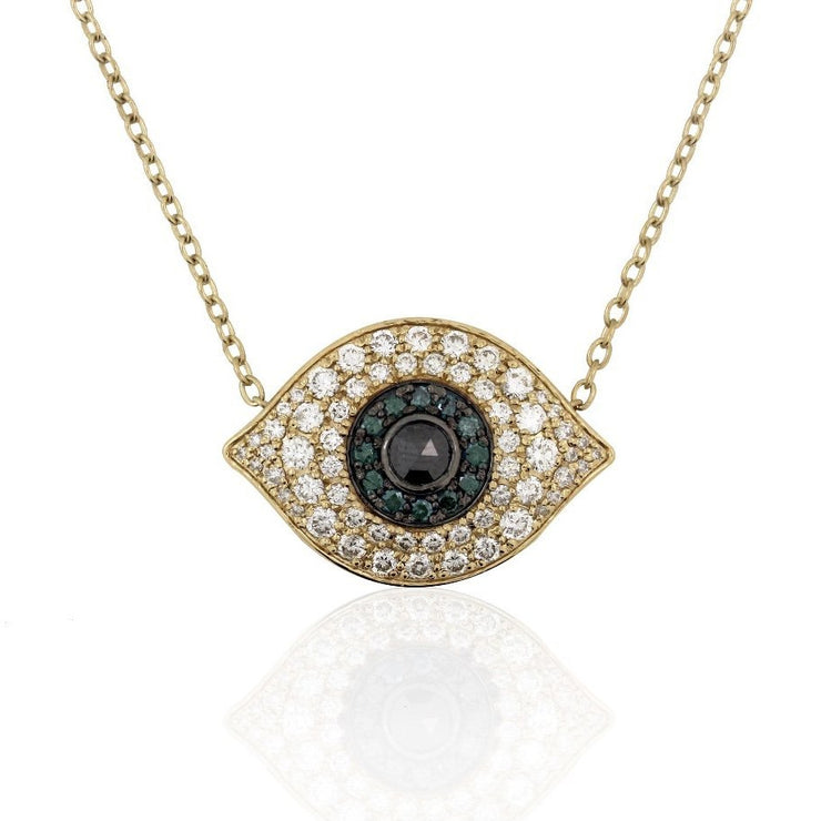 Evil Eye Necklace | Diamonds | Sapphires | 14K Gold - Lexie Jordan Jewelry