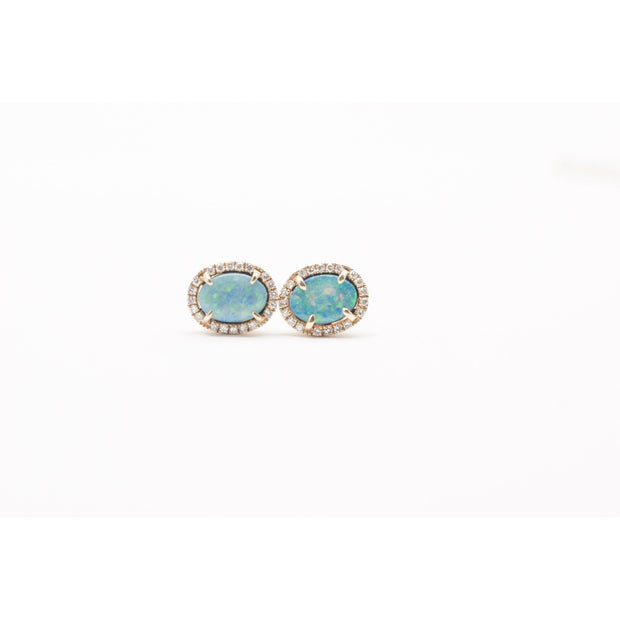 Fire Opal Stud Earrings | 14K Gold | Pave Diamonds - Lexie Jordan Jewelry