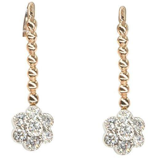 Flower Drop Earrings | Diamonds | 18K Gold | Wire Backs - Lexie Jordan Jewelry