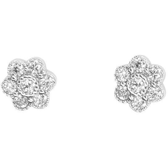 Flower-Shaped Stud Earrings | Diamonds | White Gold - Lexie Jordan Jewelry