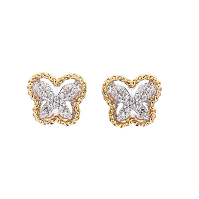 Gold Braided Diamond Butterfly Earrings - Lexie Jordan Jewelry