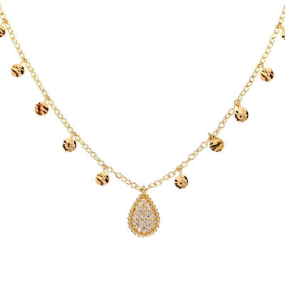 Gold Diamond Teardrop with Dangling Gold Charms - Lexie Jordan Jewelry
