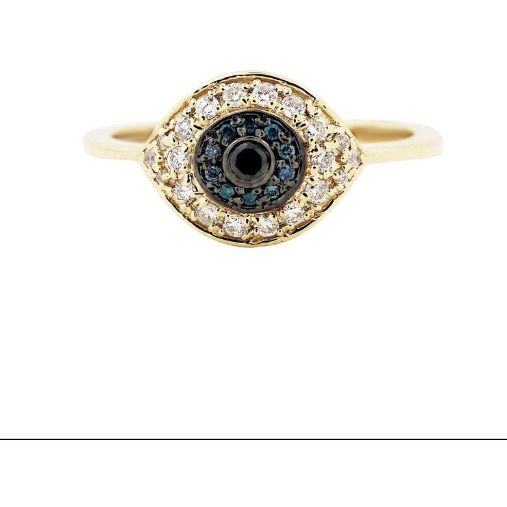 Gold Evil Eye Ring | 14K Gold | Pave Diamonds - Lexie Jordan Jewelry