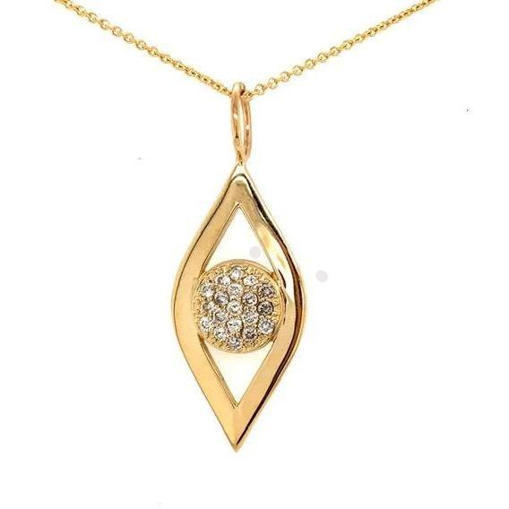 Gold Eye Necklace | Pave Diamond Center - Lexie Jordan Jewelry