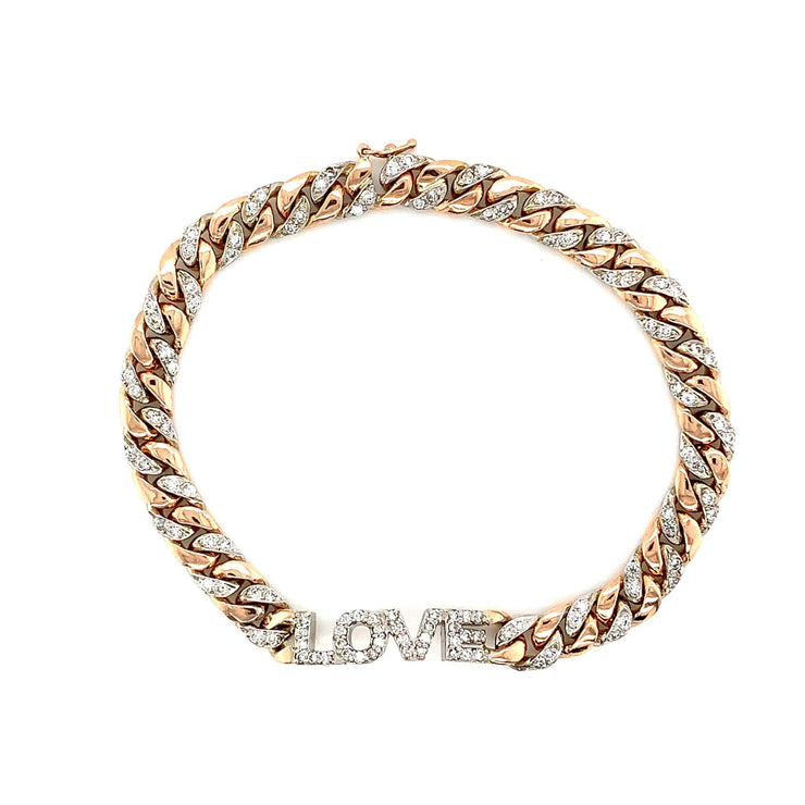 Gold Love Bracelet Cuban Link- Diamond Love Bracelet - Lexie Jordan Jewelry