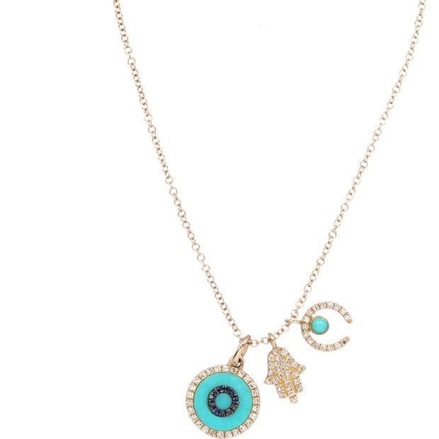 Hamsa, Horseshoe and Evil Eye Charm Necklace | 14K Gold | Diamonds - Lexie Jordan Jewelry