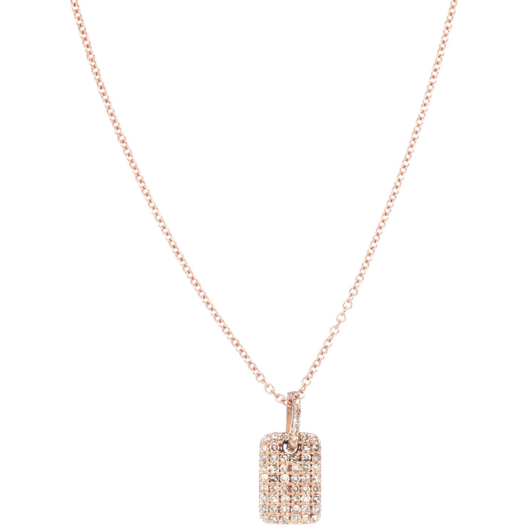 Pave Diamond Dog Tag Charm Necklace | 14K Gold | Diamonds - Lexie Jordan Jewelry