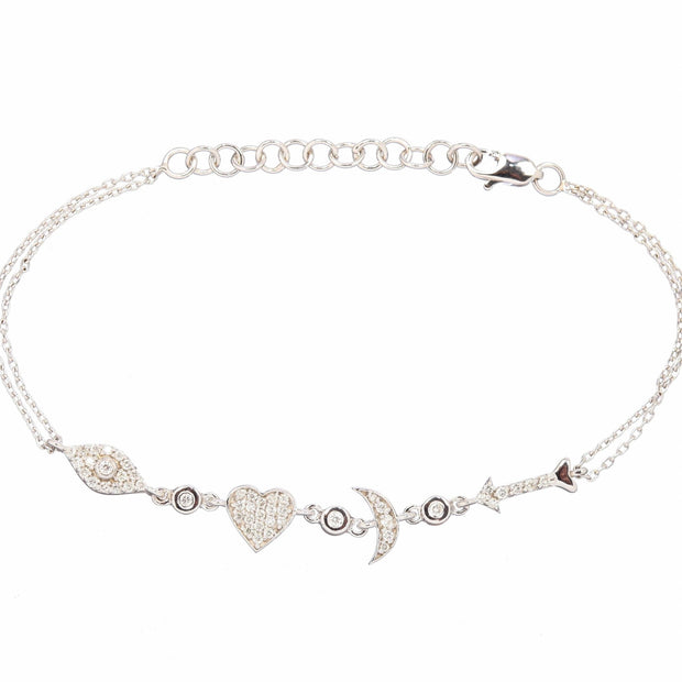 I Love You to the Moon and Back Bracelet in Sterling Silver and CZ - Lexie Jordan Jewelry