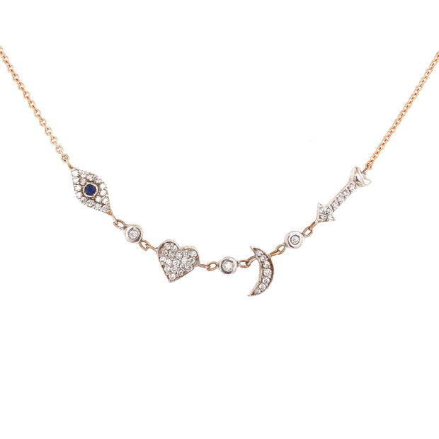 I Love You to the Moon and Back Necklace |Pave Diamonds | 14K Gold - Lexie Jordan Jewelry