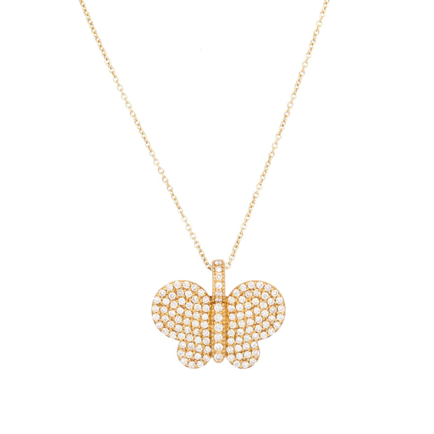 Shimmering Butterfly Necklace | Cut Diamonds | 14K Gold - Lexie Jordan Jewelry