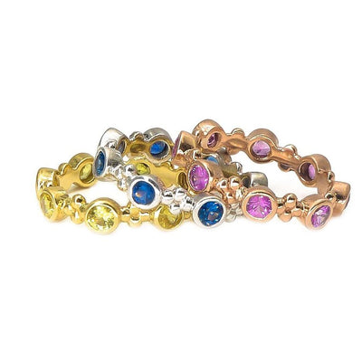 Lotus Color Splashed Precious Gemstone Stacking Ring | 18K Gold | Bezel Set - Lexie Jordan Jewelry