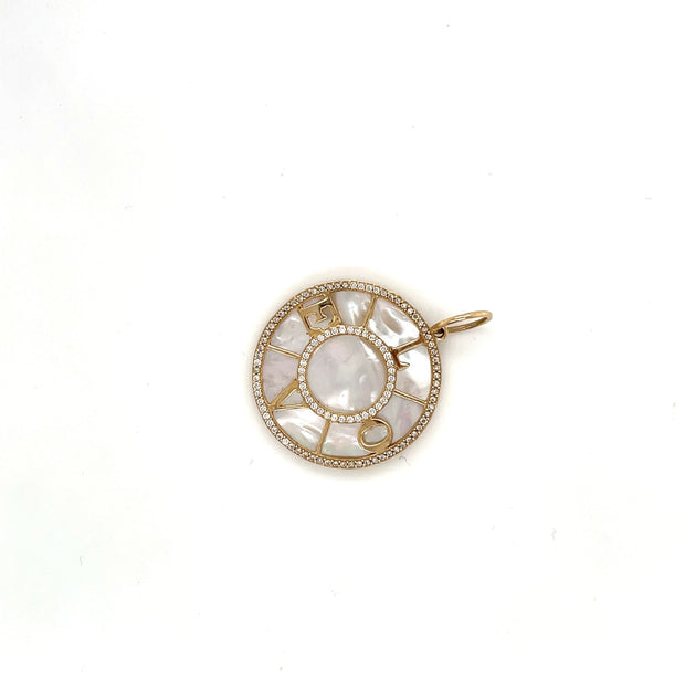 Love Mother of Pearl Diamond charm - Lexie Jordan Jewelry