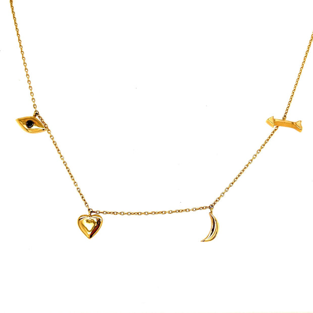 Love Necklace | I love you to the Moon and Back Dangling charms 14K - Lexie Jordan Jewelry