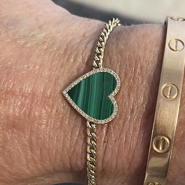 Malachite Heart Diamond Gold Bracelet - Lexie Jordan Jewelry
