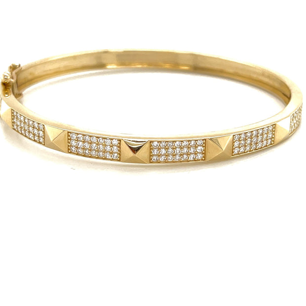 Pyramid Diamond Bangle 14k - Lexie Jordan Jewelry
