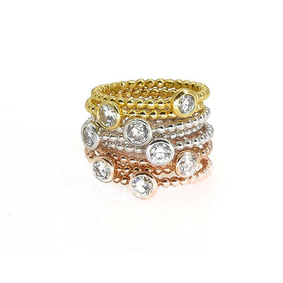 Round Diamond Solitaire Ring | 18K Gold | Bezel Setting | Beaded Band - Lexie Jordan Jewelry