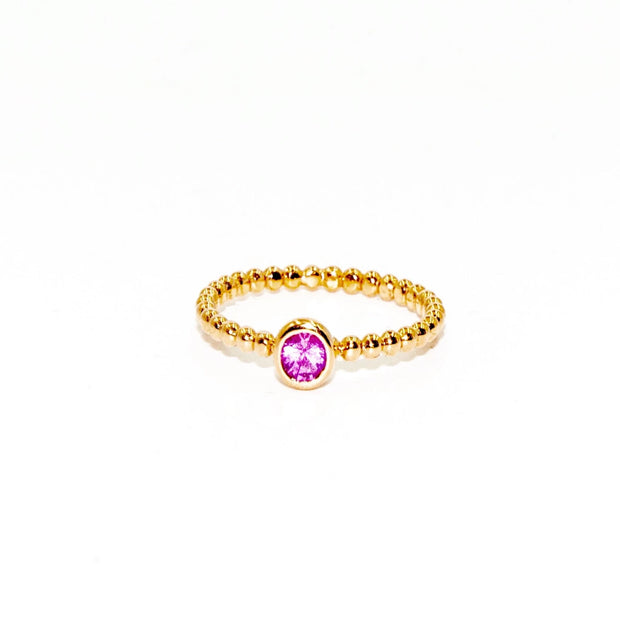 Round Sapphire Ring | 18K Gold | Bezel Setting | Beaded Band - Lexie Jordan Jewelry