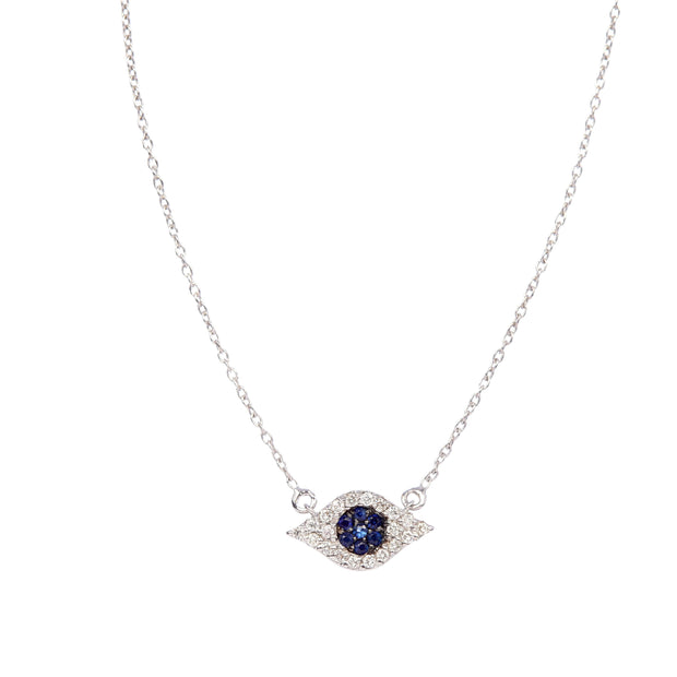 Modern Diamond and Sapphire Pave Diamond Evil Eye Necklace | 14K Gold - Lexie Jordan Jewelry