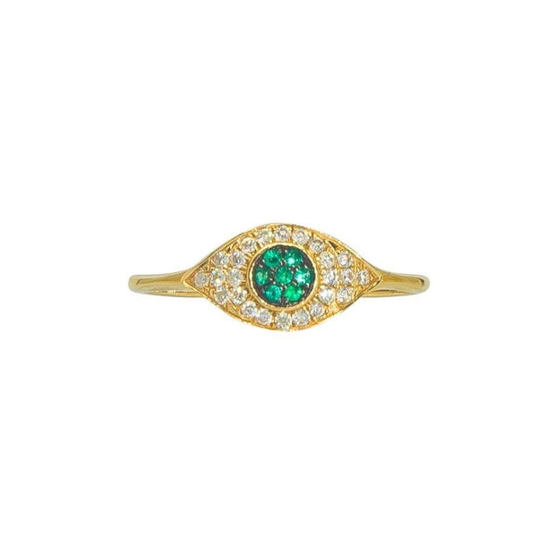 Sapphire or Peridot Evil Eye Ring | 14K Gold | Pave Diamonds - Lexie Jordan Jewelry