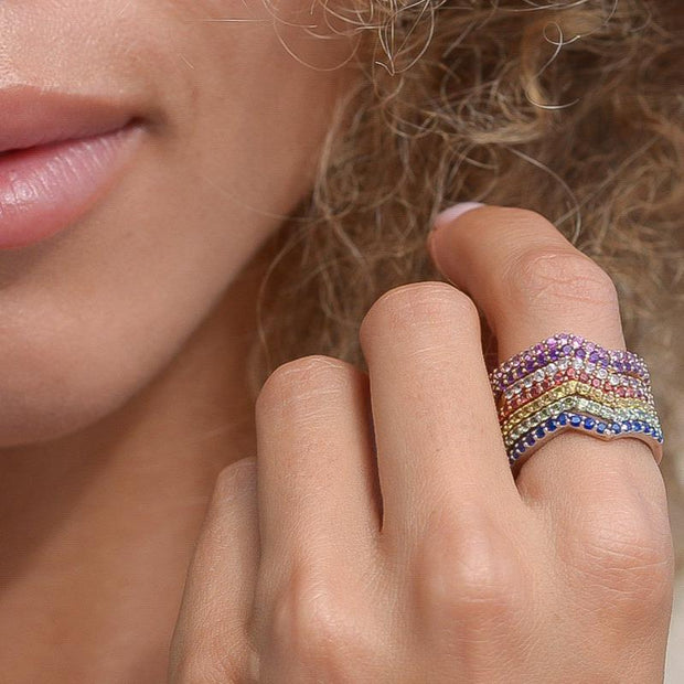 Sapphire Stackable Ring | Vivid Rainbow Sapphires | 14K Gold - Lexie Jordan Jewelry