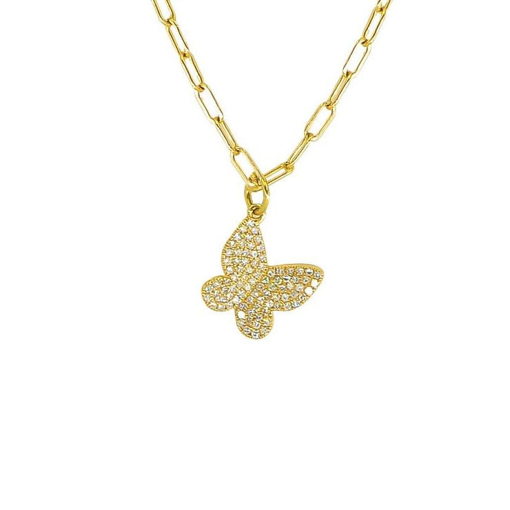 Shimmering Butterfly Charm Necklace | 14K Gold | Pave Diamonds - Lexie Jordan Jewelry