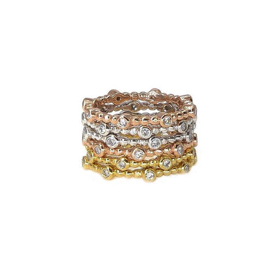 Stackable Diamond Ring | 18K Gold | Beaded Band - Lexie Jordan Jewelry