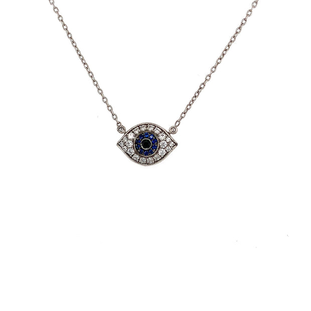 Sterling Silver Eye with CZ stones Necklace - Lexie Jordan Jewelry