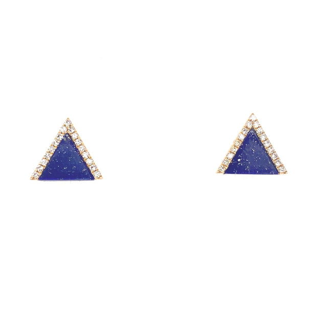 Triangle Lapis Diamond Studs - Lexie Jordan Jewelry