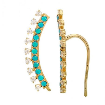 Turquoise diamond ear climber - Lexie Jordan Jewelry