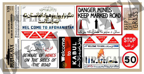 Road Signs - Afghanistan War - 1/35 Scale - Duplicata Productions