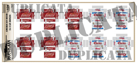 American Beer,  24 Can Beer Boxes - 1/24 Scale - Duplicata Productions