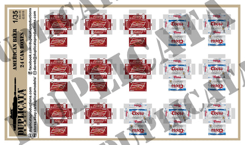 American Beer,  24 Can Beer Boxes - 1/35 Scale - Duplicata Productions