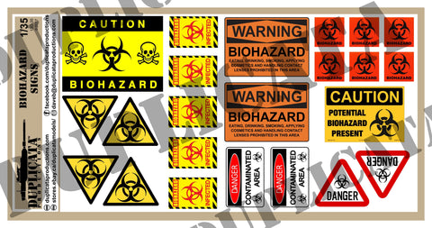 Zombie Apocalypse Biohazard Signs - 1/35 Scale - Duplicata Productions