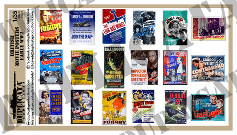 British Movie Posters -  Early WW2 - 1/35 Scale - Duplicata Productions