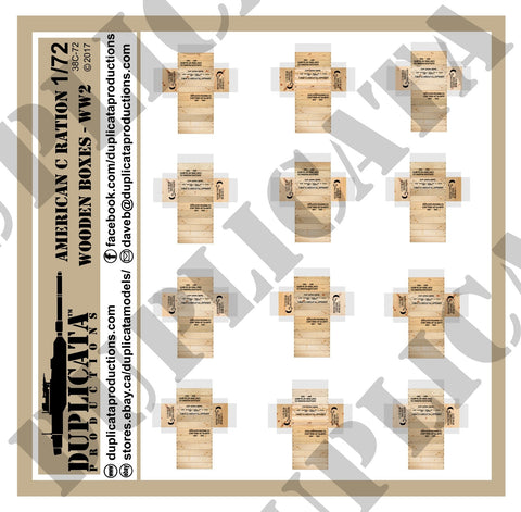 American C Rations Wooden Boxes, WW2 - 1/72 Scale - Duplicata Productions