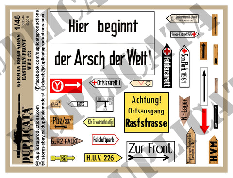 German Road Signs, Eastern Front #3 -  WW2 - 1/48 Scale - Duplicata Productions
