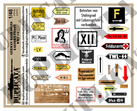 German Road Signs, Eastern Front #4 -  WW2 - 1/48 Scale - Duplicata Productions