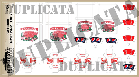 American Fast Food Containers - 1/24 Scale (2 sheets) - Duplicata Productions