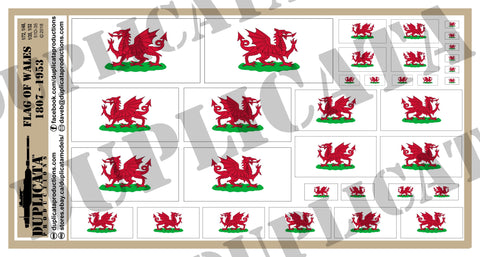 Flag of Wales (1807-1953) - 1/72, 1/48, 1/35, 1/32 Scales - Duplicata Productions