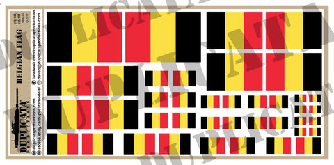 Belgian Flag - 1/72, 1/48, 1/35, 1/32 Scales - Duplicata Productions